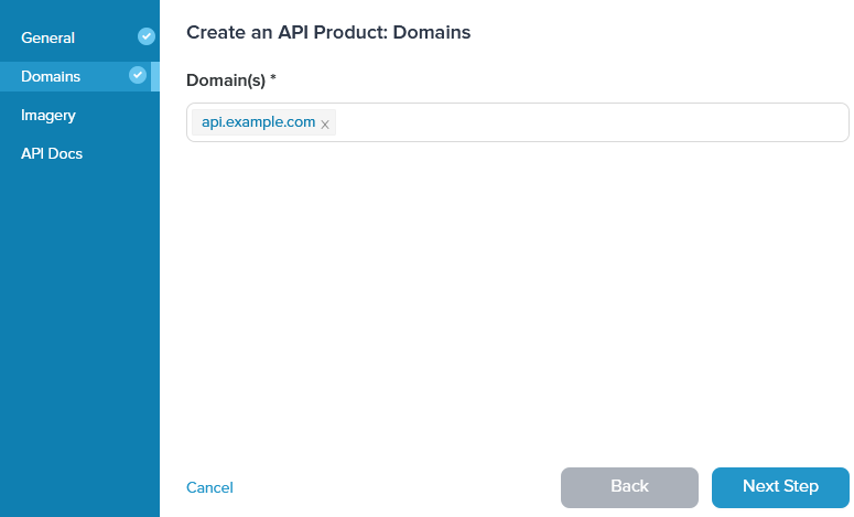 Admin Dashboard Create API Domains