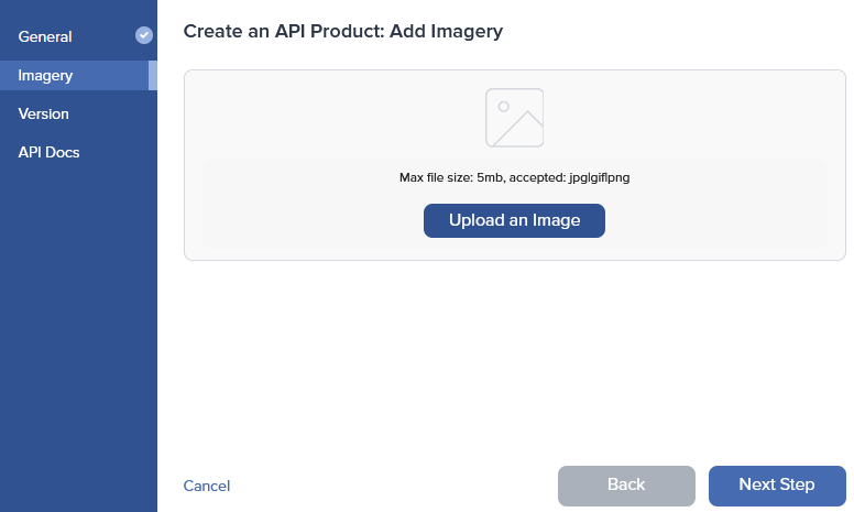 Admin Dashboard Create API Imagery