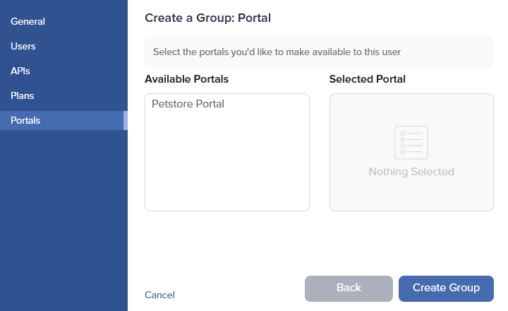 Admin Dashboard Create Group Portals
