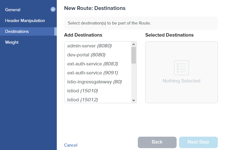 Admin Dashboard Create Route Destination
