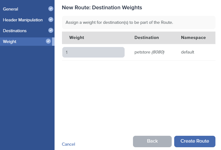 Admin Dashboard Create Route Weight