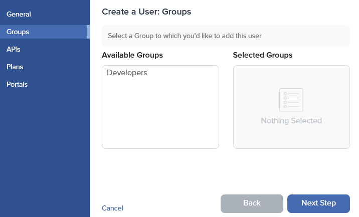 Admin Dashboard Create User Groups